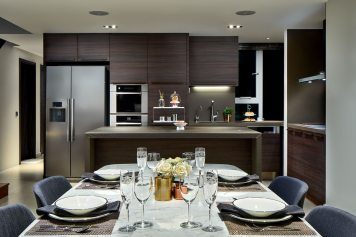 Interior design photography showing kitchen with dining table at simei rise condo in singapore
