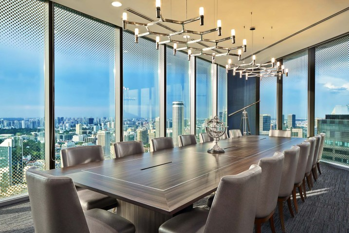 Interior Photography of the main boardroom photo with boardroom table and overhead lighting in singapore