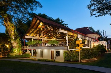 Architectural Photography at night of Arbenz Restaurant at Swiss Club Singapore Arbenz Restaurant Exterior