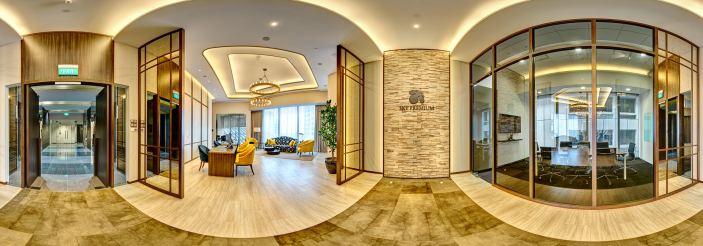 360 degree virtual tour photo of sky premium Singapore main lobby with desks and lounge area