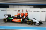 Sergio Perez, Daniel Juncadella and Nico Hulkenberg with the Force India VJM07 (Image: Force India F1 Team)