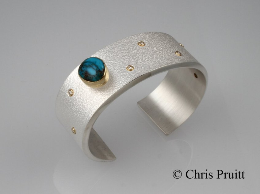 Textured Bisbee Turquoise Cuff with Diamonds and 18k Accents