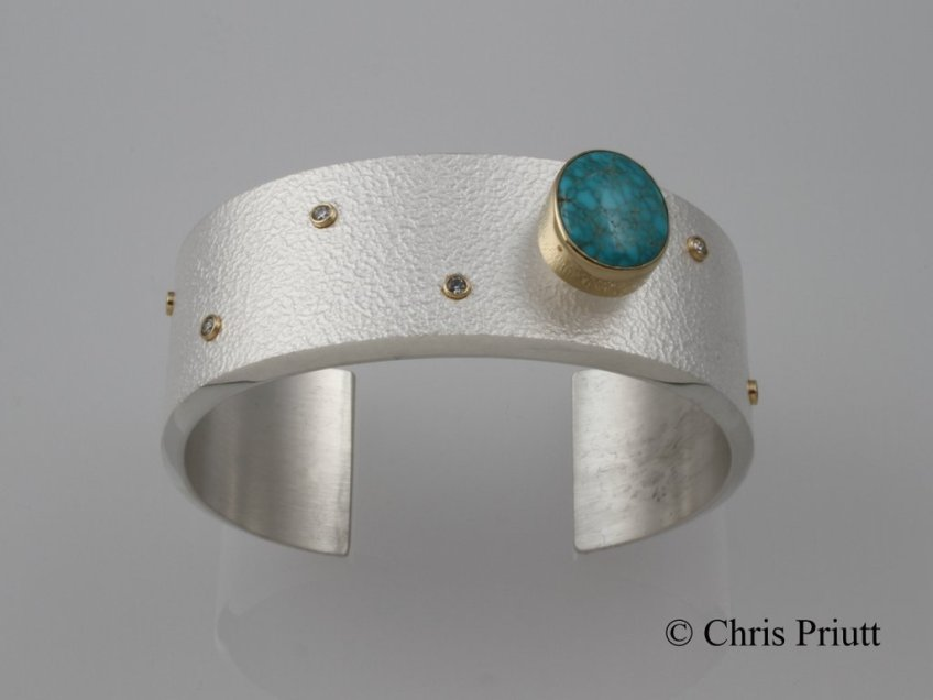 Lone Mountain Turquoise Cuff with Diamonds and 18k Accents
