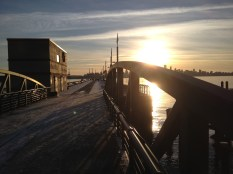 The pier at the Shipyards, built as part of revitalization of the area in 2005, remains popular among residents year round. Chris Slater photo.