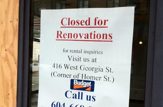 "Budget car rental ""Closed for Renovations"" sign"