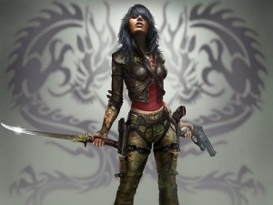 Steampunk warrior girl - A woman with tatooed arms holds a sword in one nand and a pistol in the other