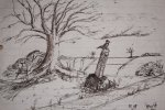 An ink sketch on lined paper of a tree beside a path. A bird sits on top of a way marker.