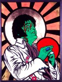 Elvis Bleeding painting by Chris Shaw, 1999