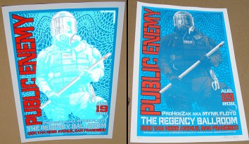 Public Enemy poster Chris Shaw - Blue variant silver reflection comparison