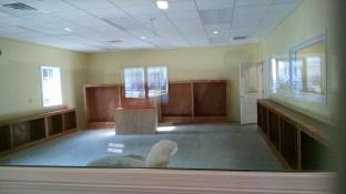Empty shelves waiting for books