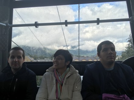 On the Peak to Peak Gondola at Whistler with some of my co-workers