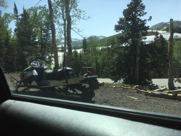 Snowmobiles in summer. Waiting for a freak storm?