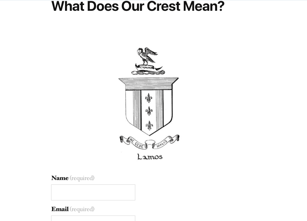Contact Form on Family Crest.