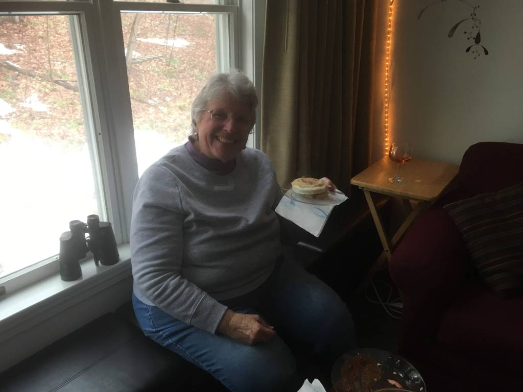 Aunt Anne eating our traditional lunch - Egg Muffins