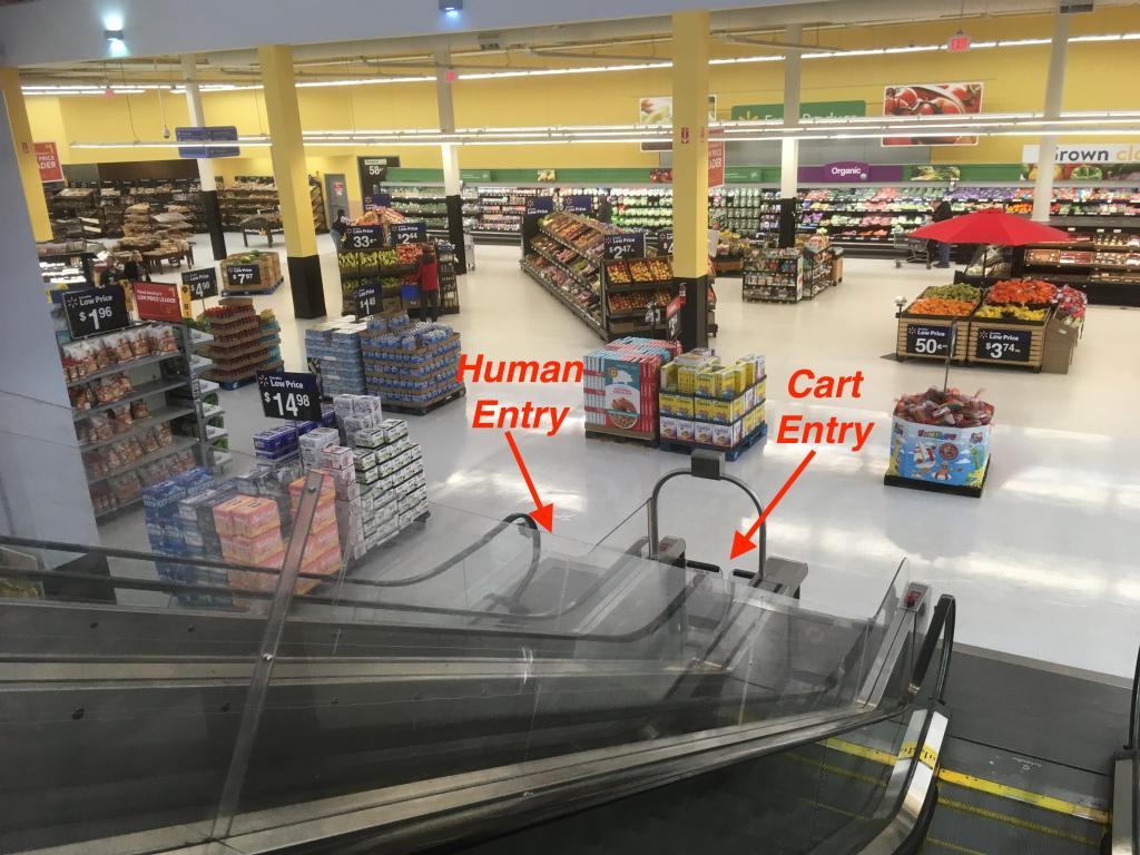 Human and cart entries to escalator.