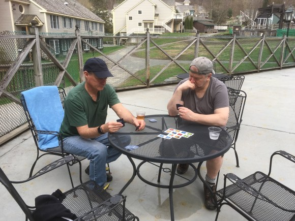 card games by the pool