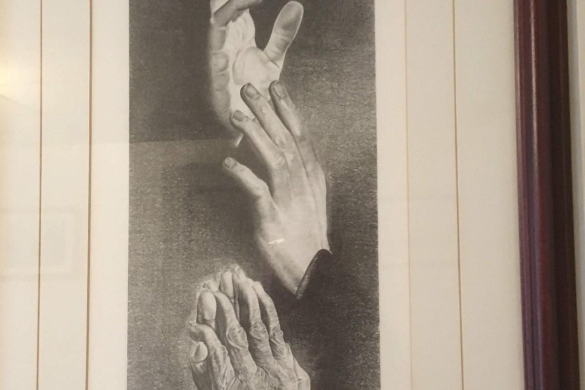 Let us Pray - Art showing hands