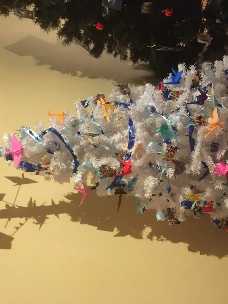 Tree with origami ornaments
