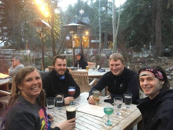 Chrissie, Hudi, CJ and Zeb eating dinner at Sundance