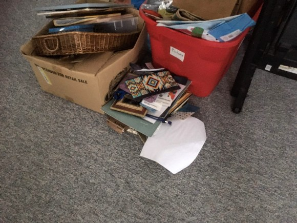 Image of photos stored in bins.