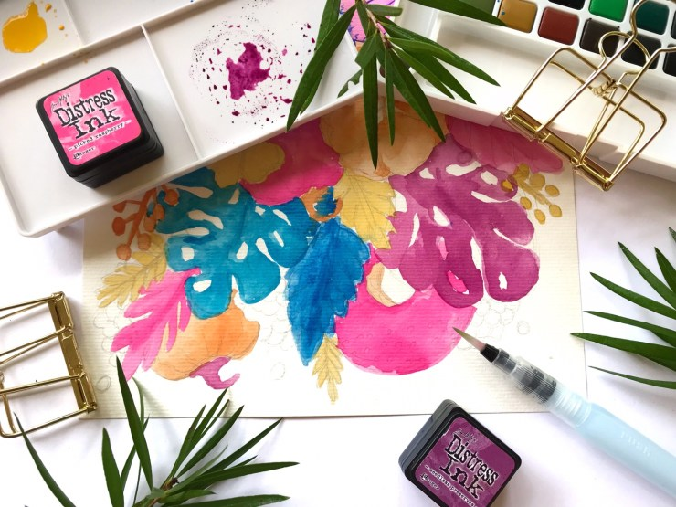 Work in progress - Watercolour and Ink Florals on Canson Watercolour Paper