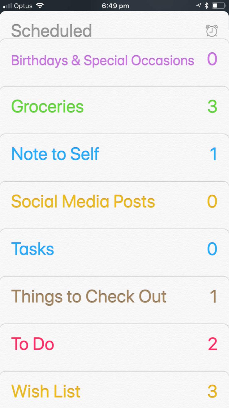 Reminder Categories