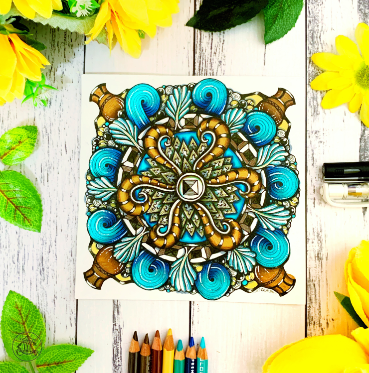 Supercharged Radial Blossom Zentangle Tile