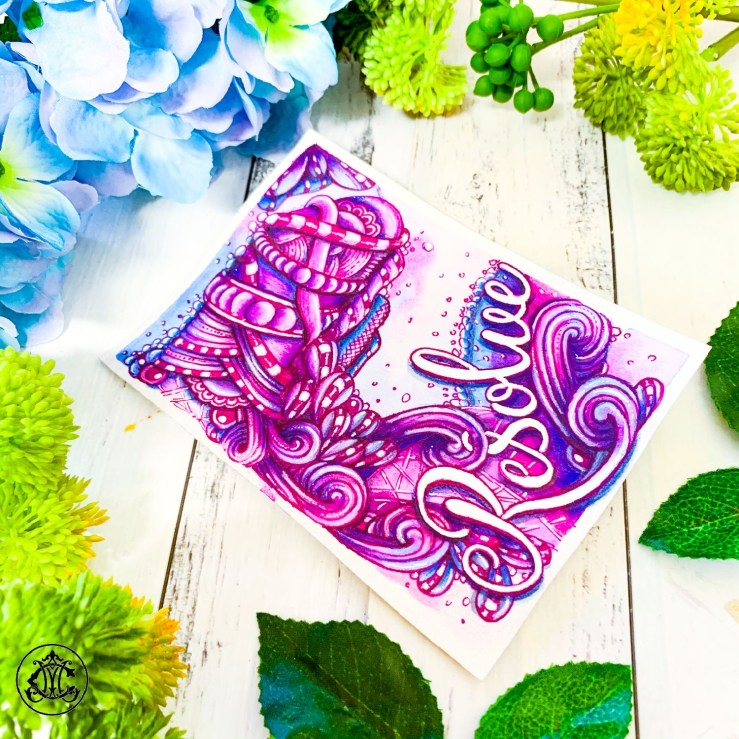 Resolve watercolor and ink Zentangle art