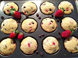 Strawberry Chocolate Chip Muffins are light, tender muffins filled with chocolate and sweet strawberry. Eaten warm the chocolate is melted and the strawberries soft and almost jammy.