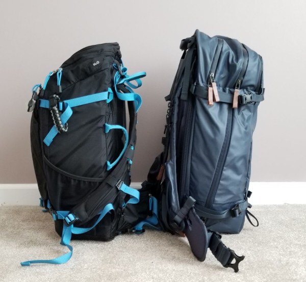 Side Comparison of Shimoda 40L and F-Stop Kashmir Camera Bags