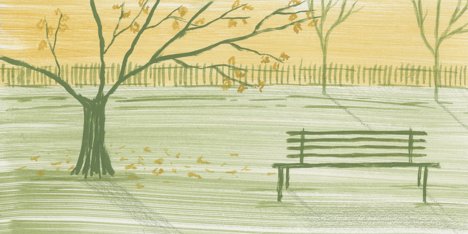 An illustration with a bench for an article about Urban Forest Bathing.