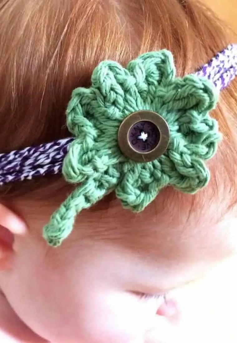 Four Leaf Clover Crochet Headband