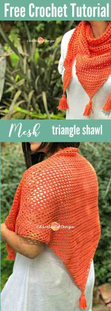 mesh crochet triangle shawl tutorial