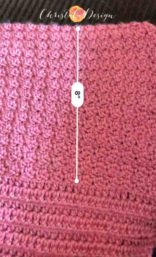 "picture of measured 8"" section on blanket"