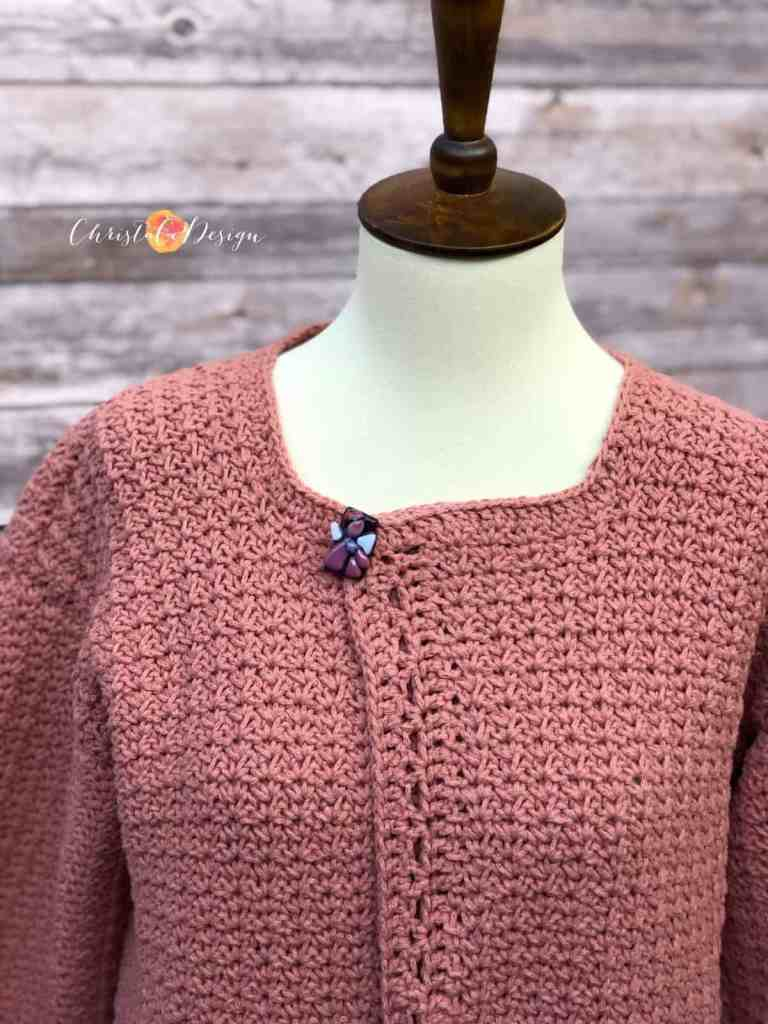 picture of scoop neck crochet cardigan in pink with pockets