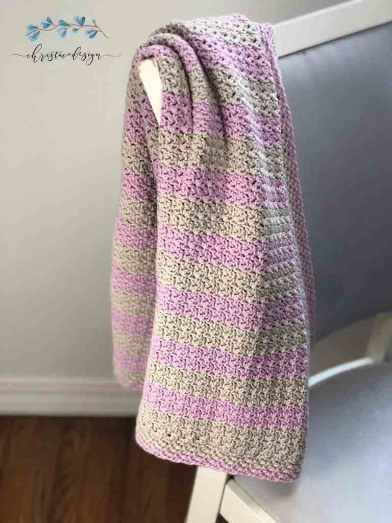 picture of crochet cotton blanket striped pink and grey