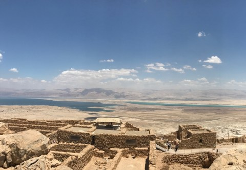 View of the Dead Sea from the top of Masada