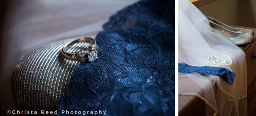 Navy blue garter and wedding ring in Belle Plaine