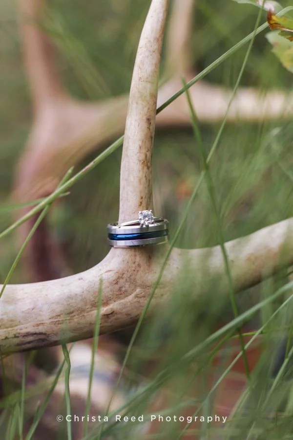 chaska outdoor engagement photographer rings on deer antlers