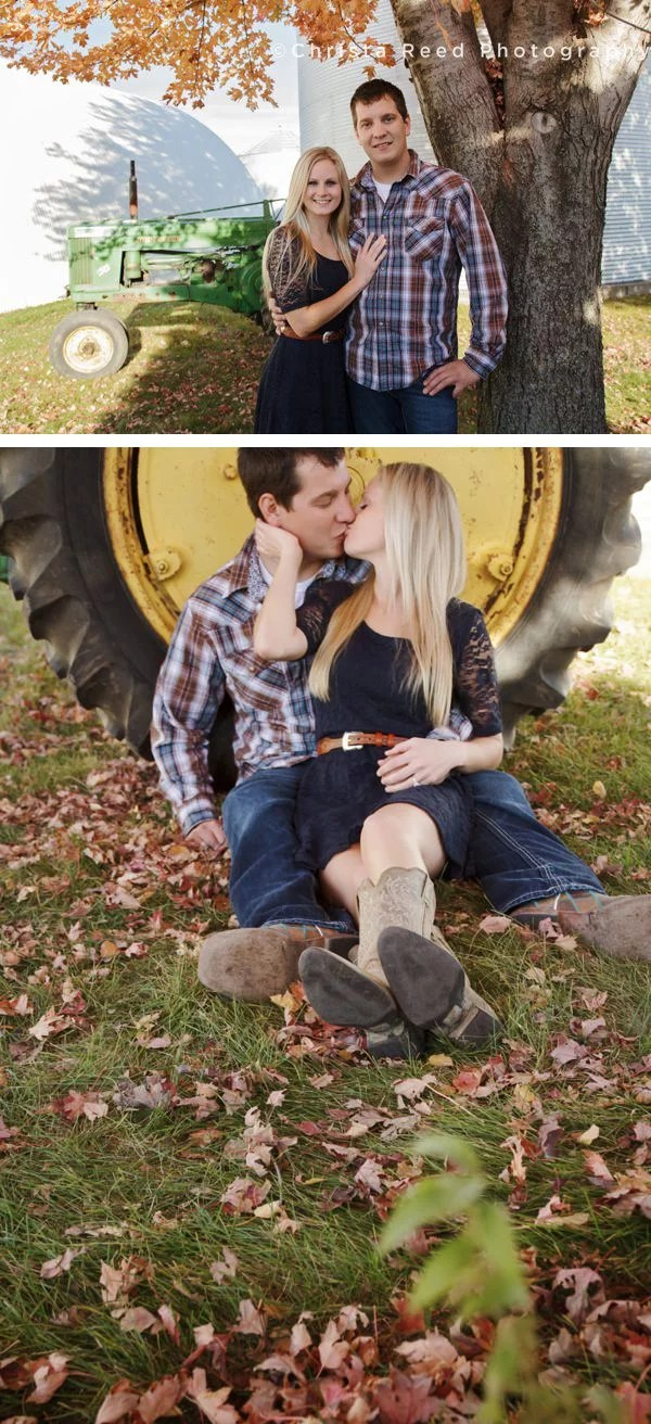couple stands next to john deer tractor for engagement portraits at farm