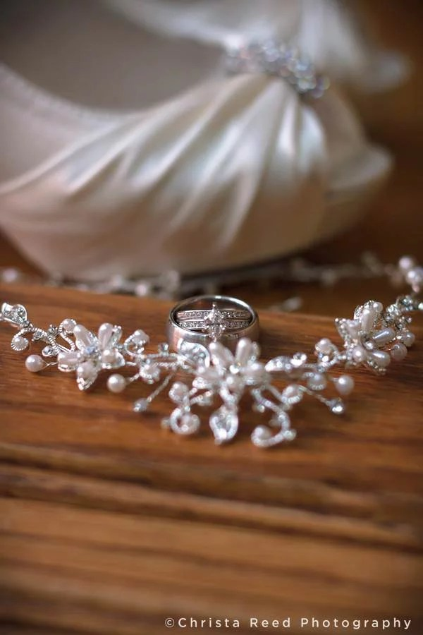 wedding shoes, ring and necklace details by Mankato wedding photographer Christa Reed