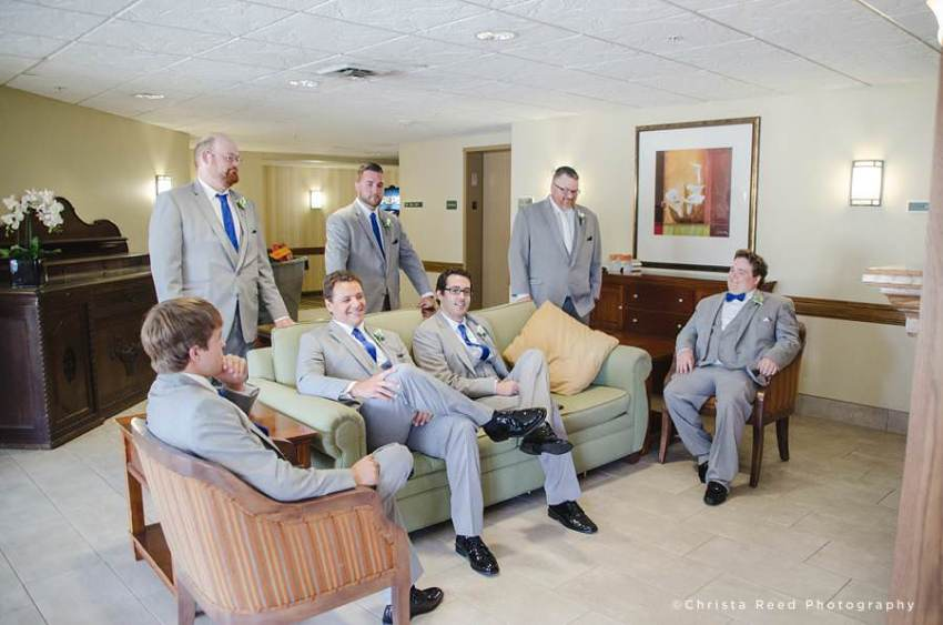 groomsmen hang out at hotel