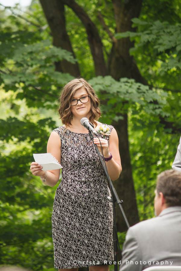 friend speaks at wedding ceremony