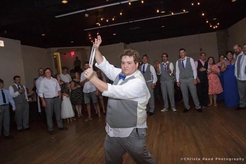 garter toss at chanhassen wedding