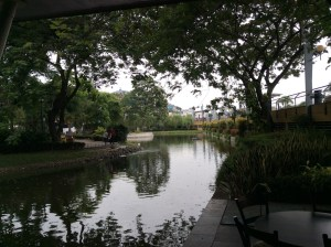 View of pond from cafe in Malecon, Guayquil.
