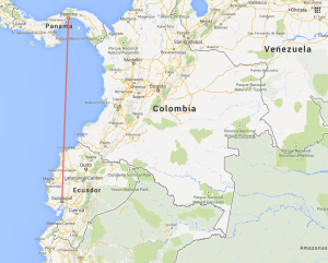 Map showing distance from Panama City to Guayaquil