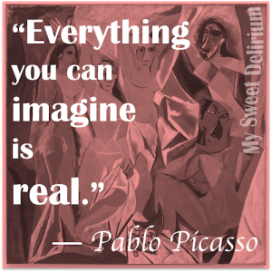 Pablo Picasso Quote over his painting Les Demoiselles d'Avignon