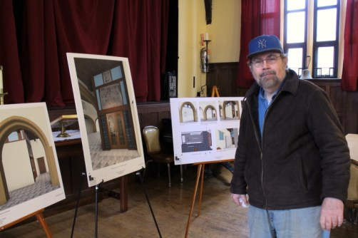 Tom checks out the columbarium plans