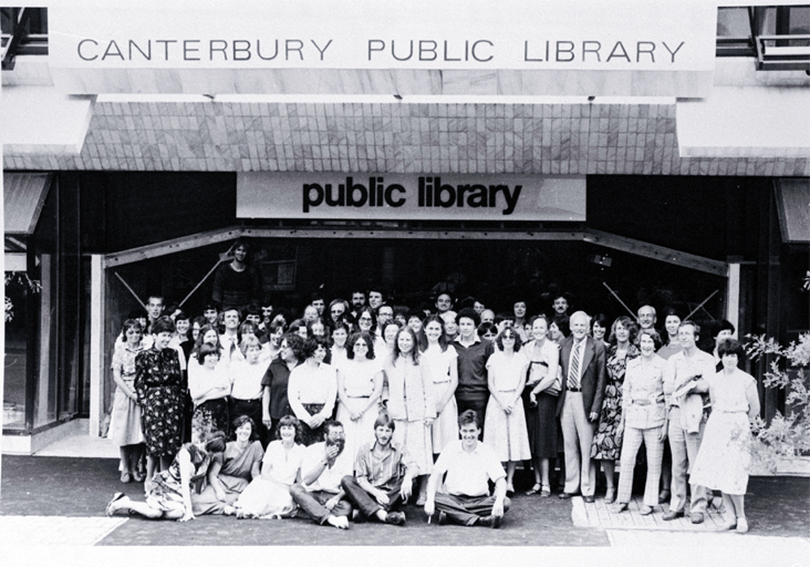 Canterbury Public Library staff outside the new library building on the corner of Gloucester Street and Oxford Terrace [1982]