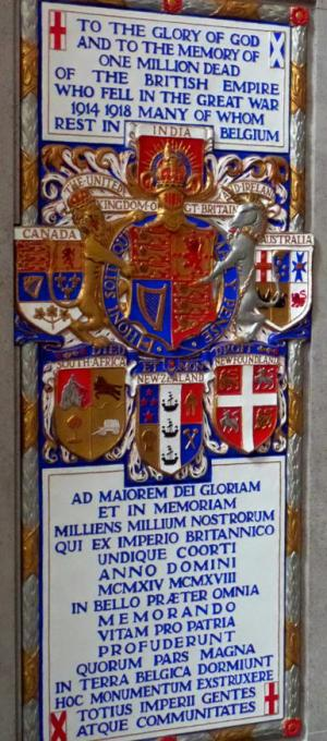 Brussels Cathedral, Memorial Tablet